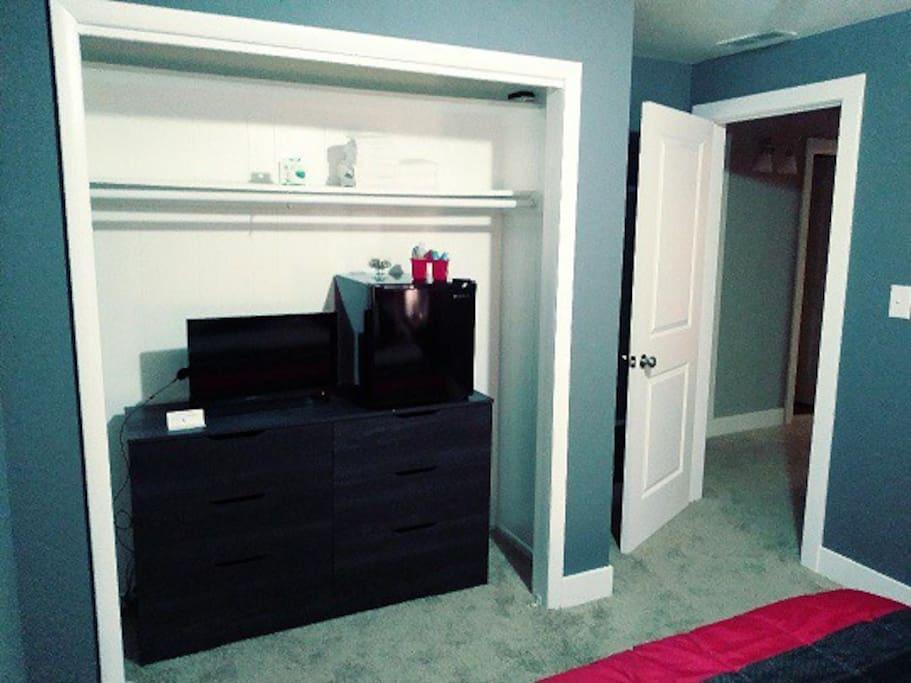 Fridge and TV/Closet