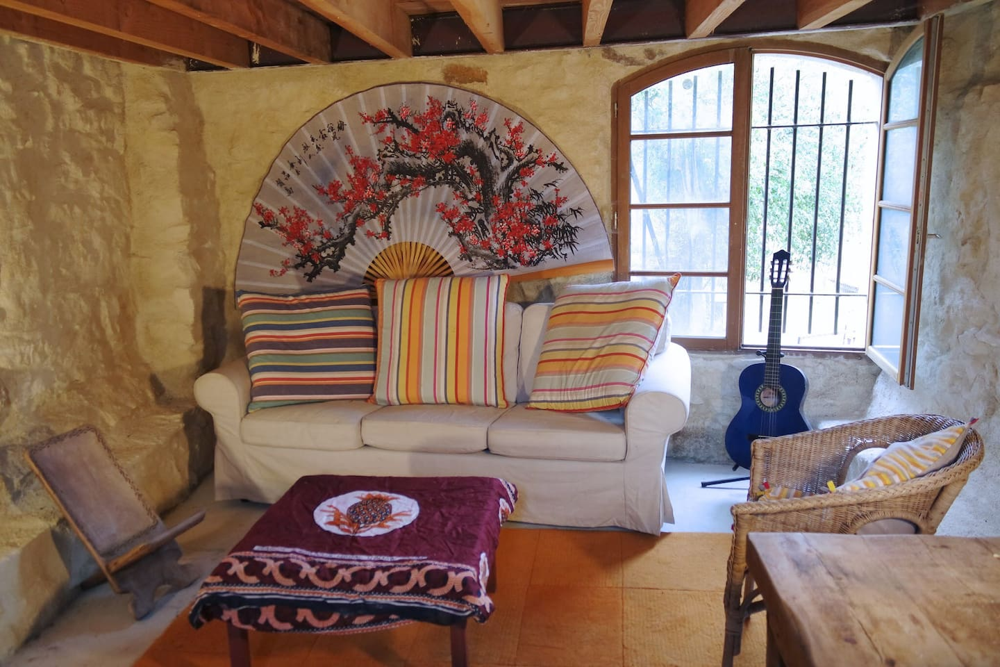 Sitting area.  Guitar not included