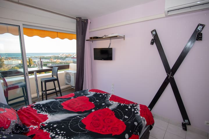 Sea View Naturist Village studio with A/C and WiFi