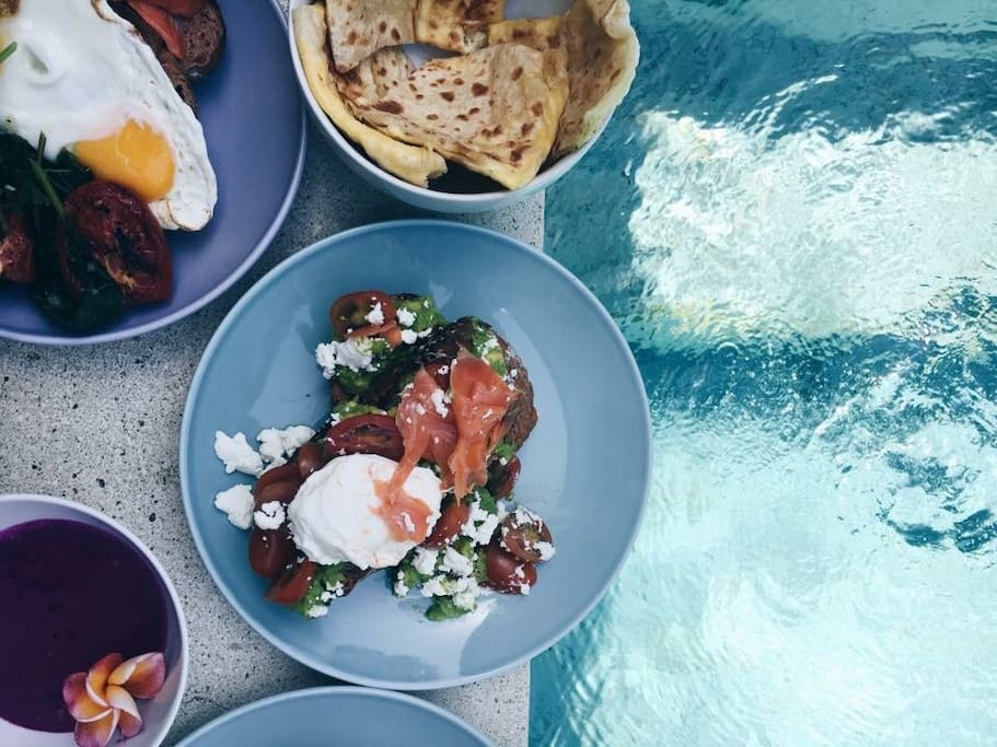 Breakfast delivered by the pool