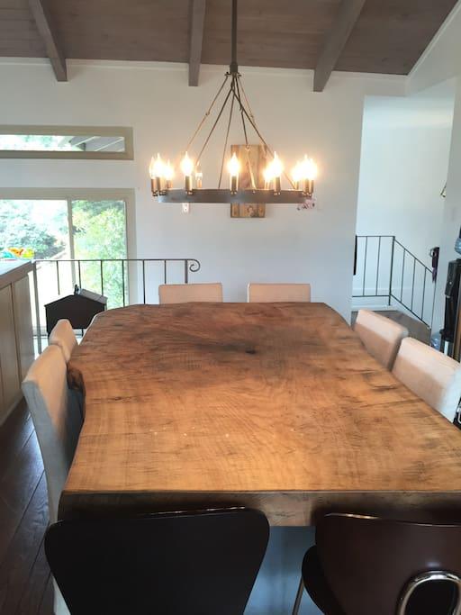 Elegant live edge wood dining table seats 8-10