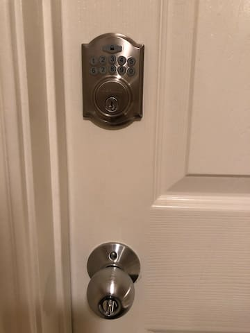 The bedroom has a Keyless entry door lock for added privacy and peace of mind with personal valuables.