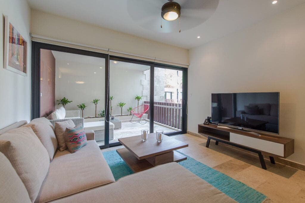 Comfortable living room, with a bed-sofa and TV.