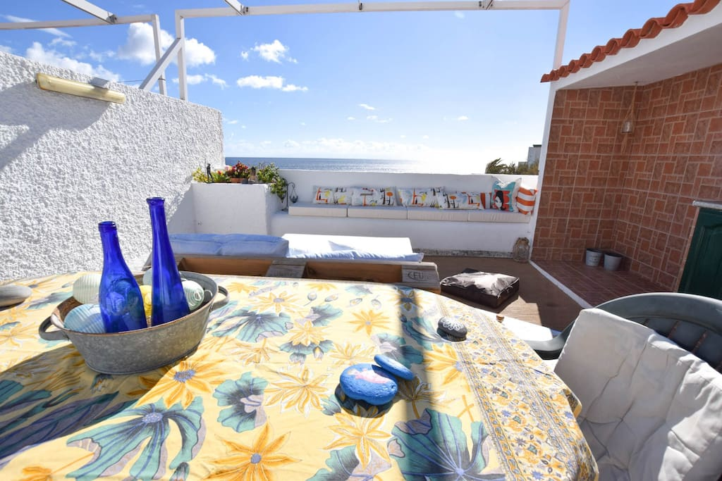 "The terrace also has a table where you can enjoy your meals and small out door kitchen on the right. ""Had such a great time in this beautiful house, this is a gem ! Zuzka was super helpful, definitely recommend it !"" Lucie"