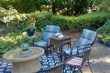 Enjoy a large wooded patio.