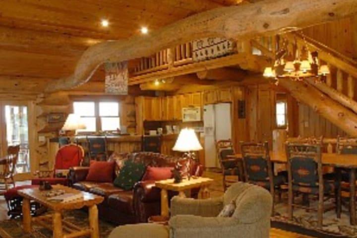 Big stone fireplace, free wood and beautiful place