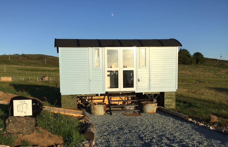 Shepherds hut, Lara on the croft.