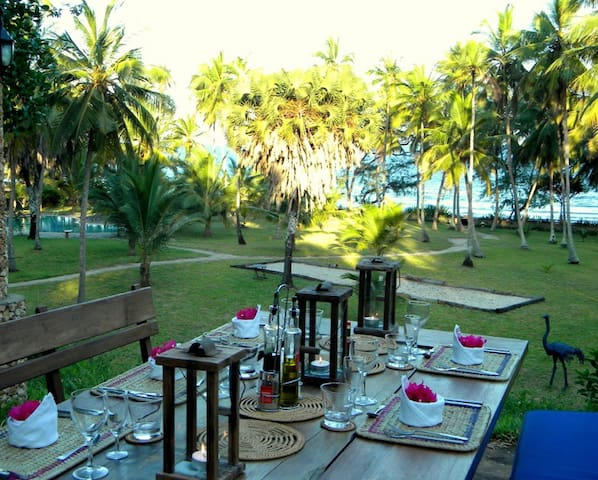 Outside dining area overlooking  ocean