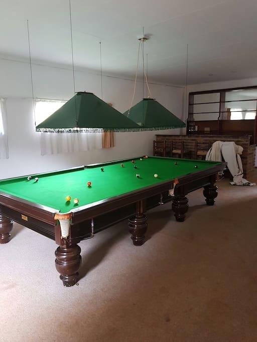 Billiard table and bar area