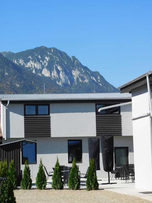 The breathtaking Piatra Craiului dominates the view from the courtyard.