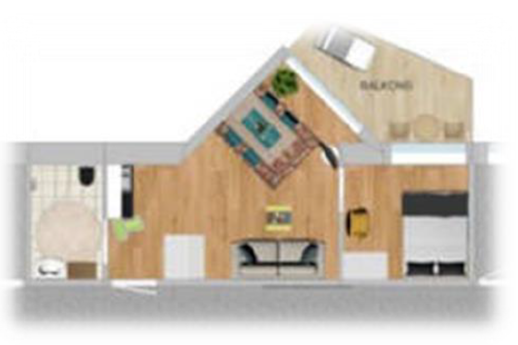 Planløsning leilighet med egen uteplass.   Apartment with a private balcony.
