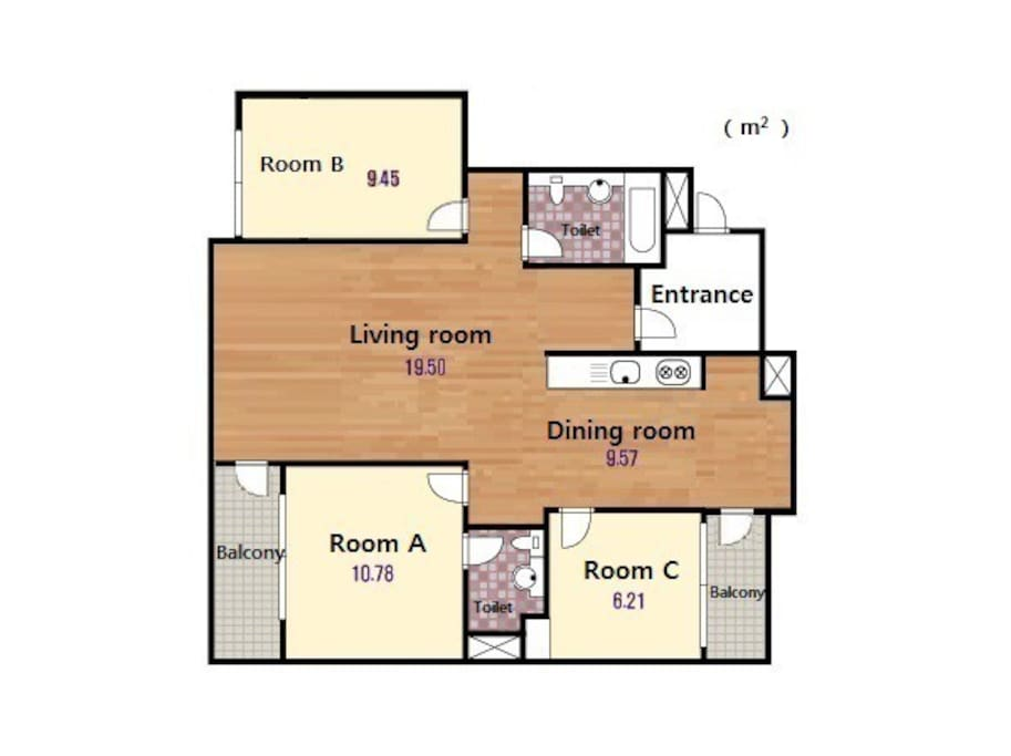 Room A (double bed) for 2 people, Room B for 2 people (twin bed), Room C for 1 person (single bed). Blankets on request.