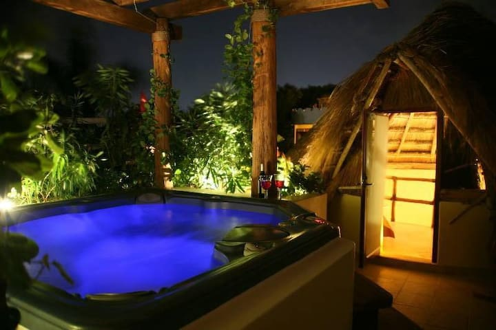 Private Jacuzzi at night