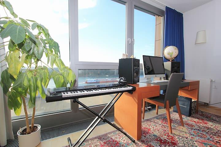 Award-winning apt w/Danube view, garage & balcony
