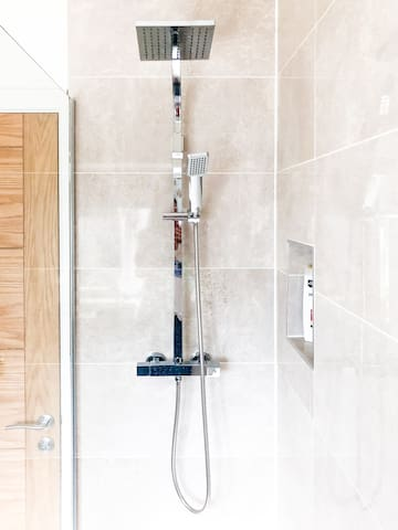 Recently modernised shower room with walk in shower.