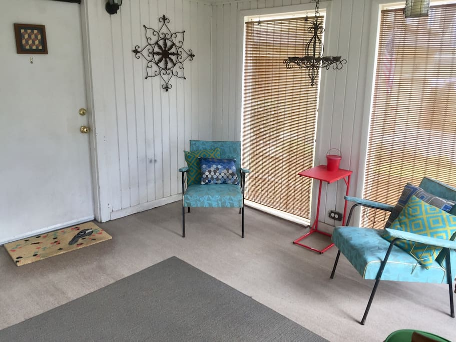 Front porch seating area for morning coffee or catching some fresh air.