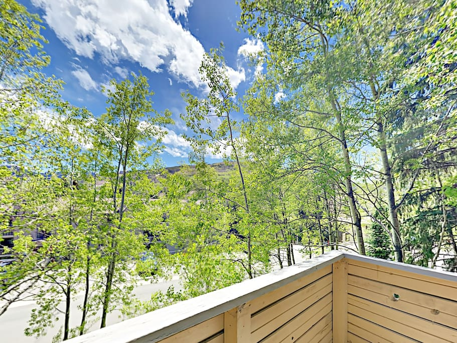 Take in stunning mountain views from the balcony.
