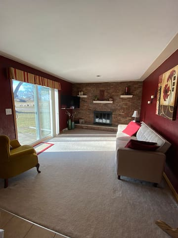 Family room (main level). TV with both Roku and DVD player. Lots of blankets for wrapping up and the couch reclines to a full size bed.