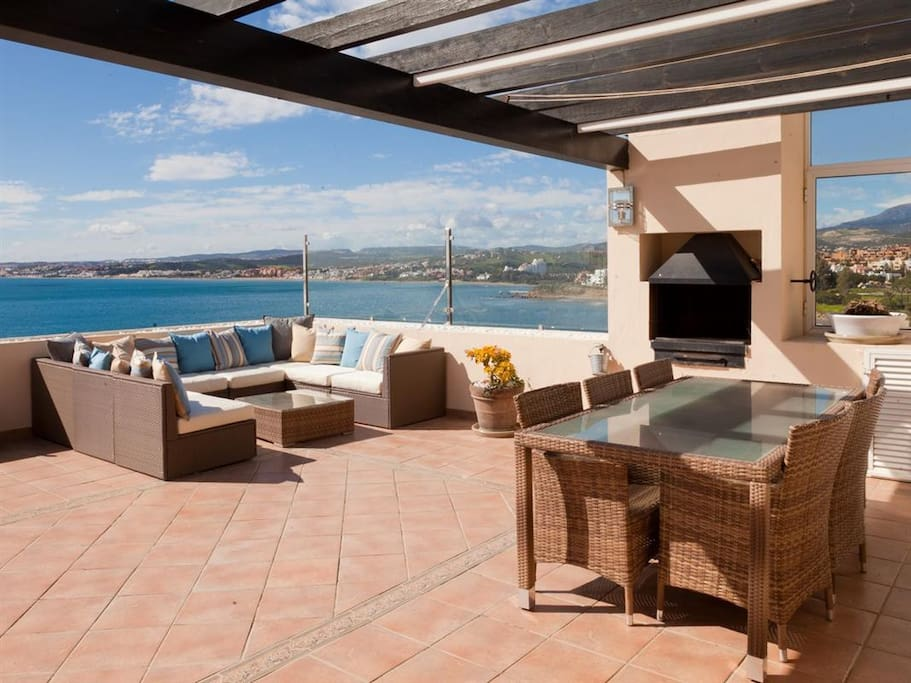 Very large terrace with BBQ and wonderful views