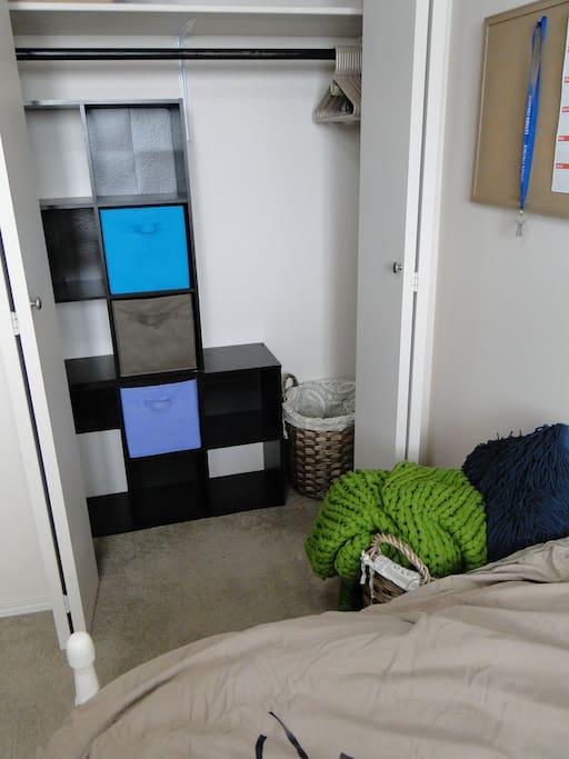 Closet space in guestroom
