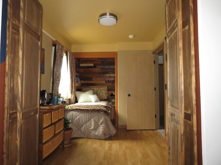 View from loft to bed area