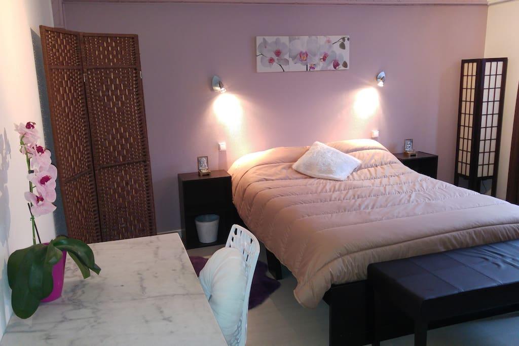 Chambre ZEN (22m2) avec 1 lit double et nécessaire BB