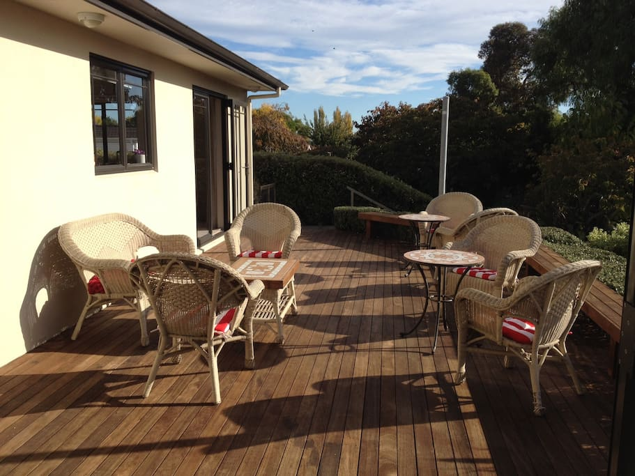 Sun drenched private deck