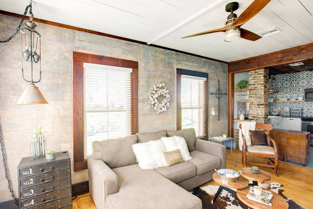 Her shiplap walls, wood floors and ceilings are original.