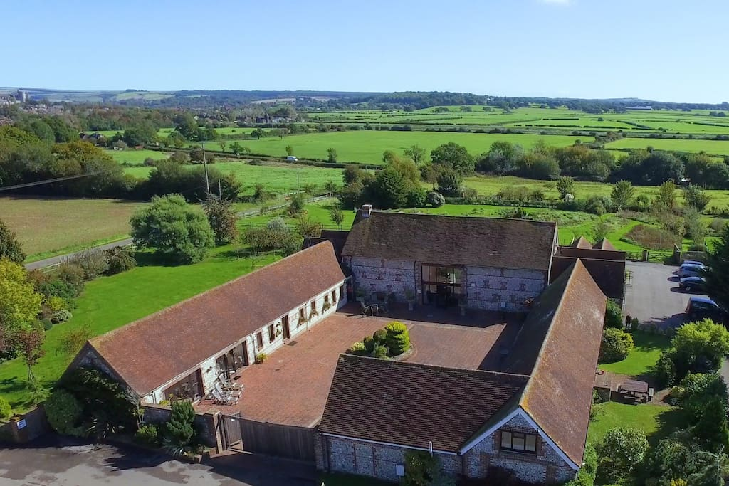 Aerial View of Brooklands, gardens and surrounding countryside, Arundel 2 minutes away