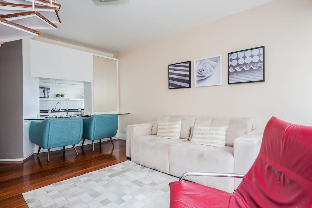 First floor, sofa for 4 people. Wifi and Smart tv available with 30 HD channels!