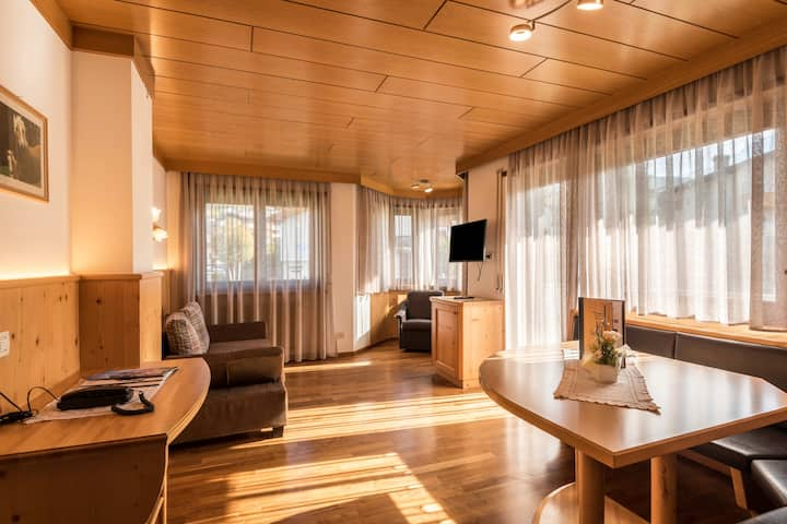 """Cosy Apartment """"Ferienwohnung 4"""" near Seiser Alm with Mountain View, Wi-Fi, Balcony, Terrace, Jacuzzi, Garden & Sauna; Parking Available, Pets Allowed"""