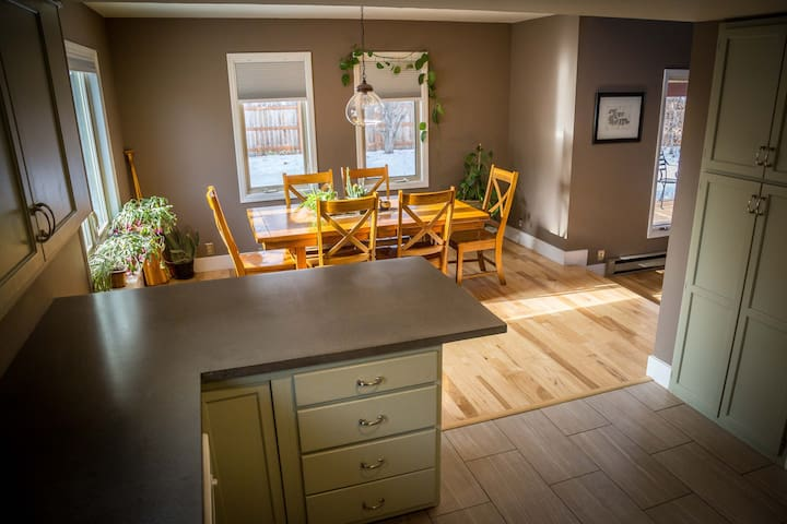 The full kitchen and dining room are great for cooking and hosting family dinners.