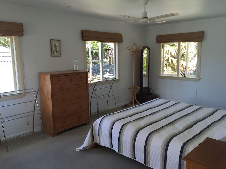 Master bedroom (upstair with ensuite  bathroom and view to the street and treetops
