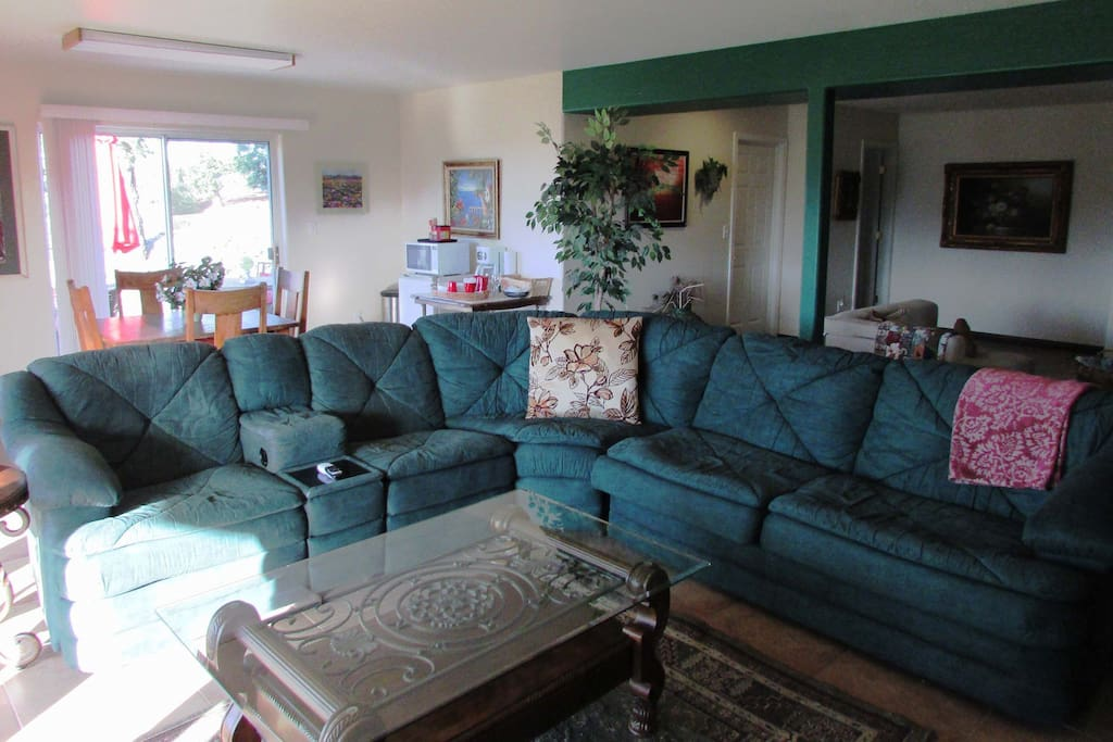 Super comfortable and large sectional with 2 La-Z-boy recliners.