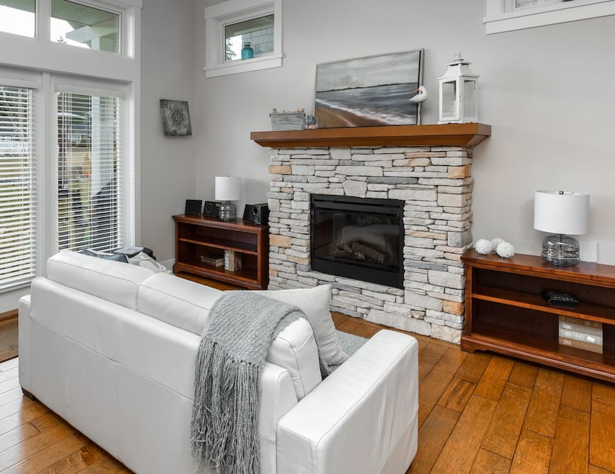 Lovely living room with electric fireplace