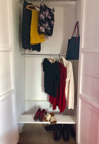 Double hanging closet and additional space for your shoes.