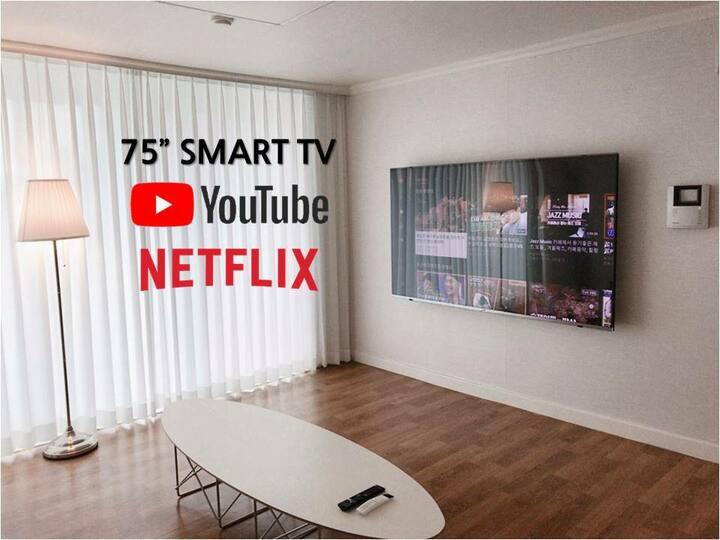 천안 75인치 넷플릭스 Smart TV (침실 2개)