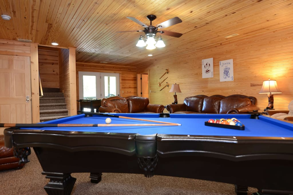 Full Size Slate Pool table is ready for you to challenge your friends/family Downstairs full game room with Pool table - Foosball Table - and Hot Tub WOW