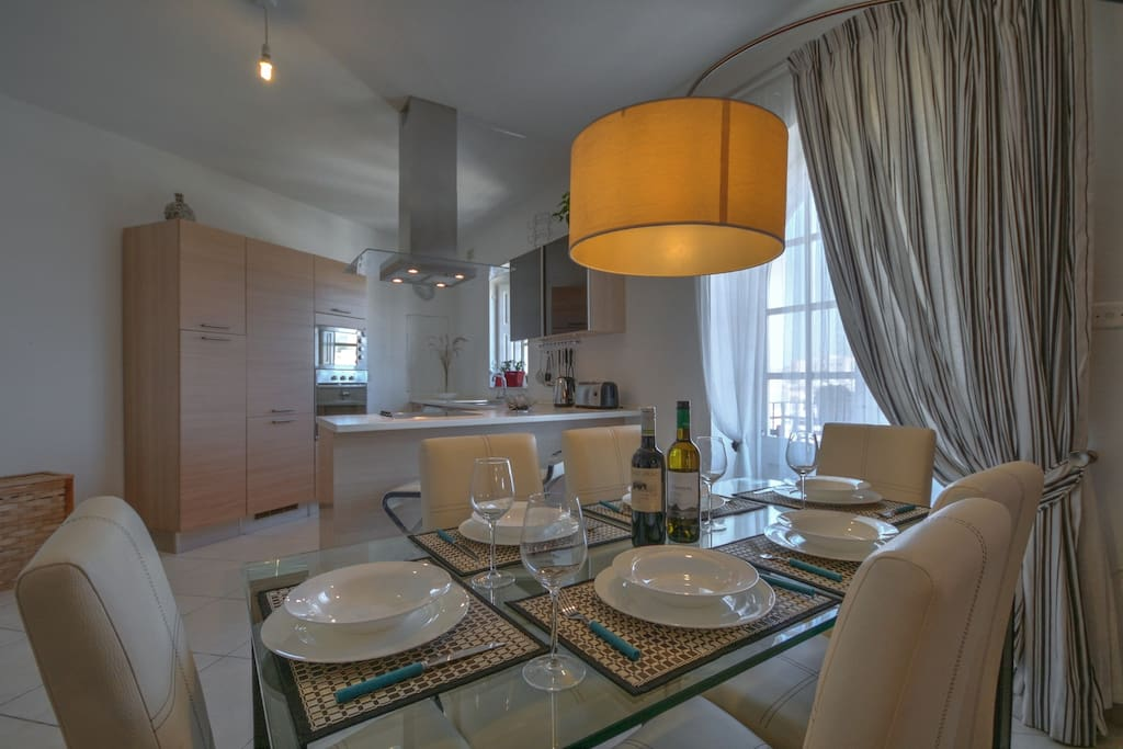 Dining table to kitchen view