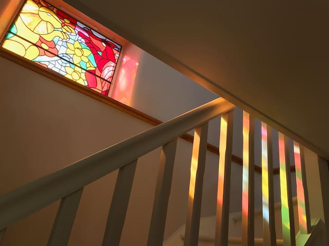 Privately commissioned, stunning stained glass window depicting the border of England and Wales.
