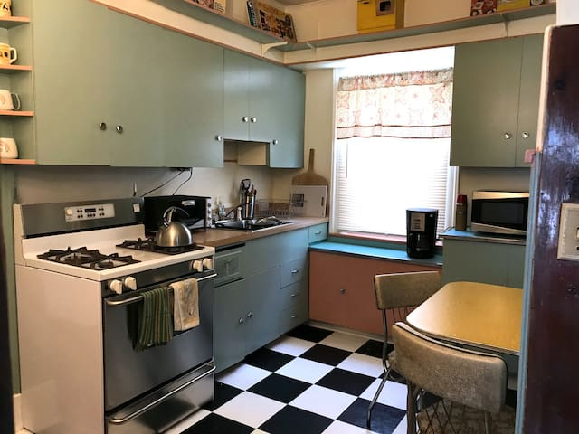 Camelot-era kitchen: Whip-up some Fondue & Chicken a la King and your ready for Jackie's arrival.