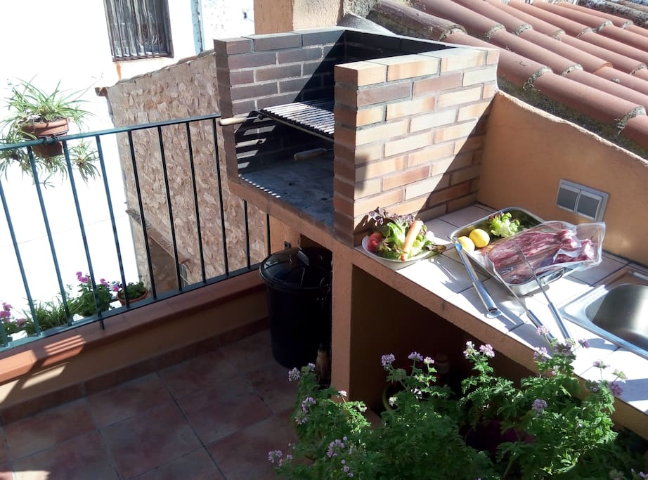 The BBQ on the terrace upstairs.