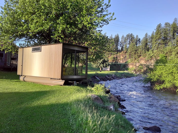 Black Hills Houseboat next to Rapid Creek