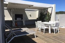 The rooftop is a communal area enjoyed by all residents of the apartment block. It  is built for braaing (barbecuing), swimming and enjoying Cape Town's beautiful sun and landscape.