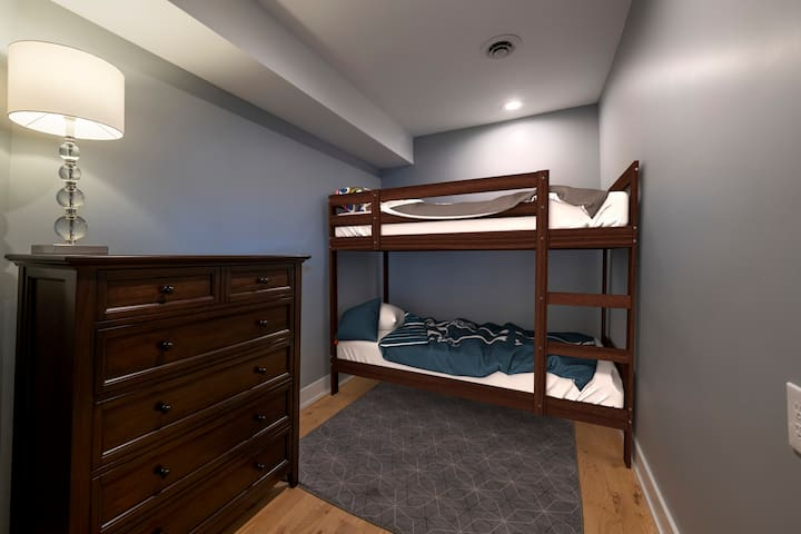 This is the 3rd Bedroom.  It has a full-size-over-full-size bunk bed from Restoration Hardware.  You could sleep 4 small people on this bunk.  The closet is small and the dresser is really large - from Pottery Barn. Casper mattresses.