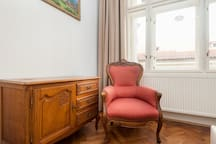 the whole apartment is beautifully furnished in line with the history and beautiful location of the building