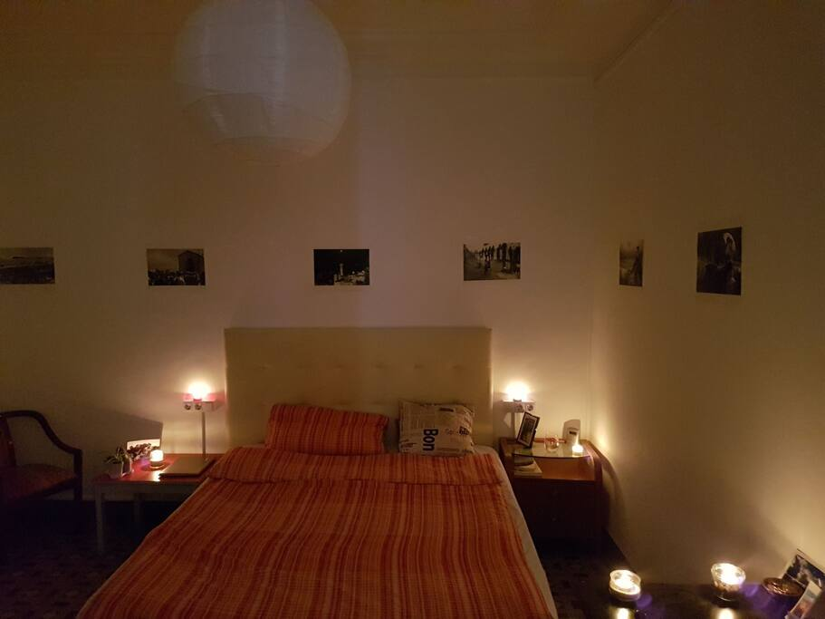 Room during romantic nighttime hours