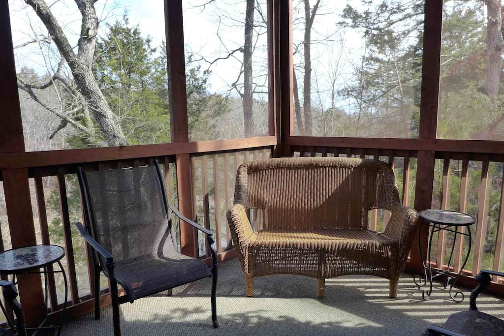 Private Screened-In Back Porch Overlooking the Creek and Woods