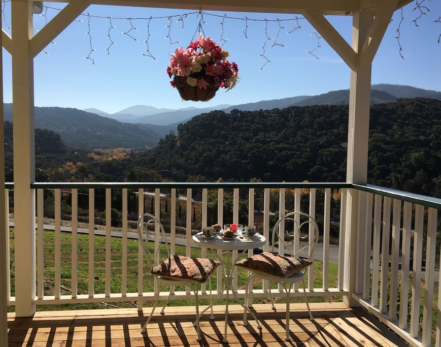 In the morning, enjoy a continental breakfast with coffee or tea, at the bistro table on the front porch while soaking in the views...