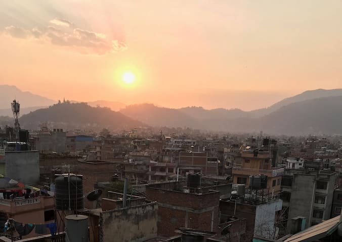 Sunset views from the rooftop towards Himalaya